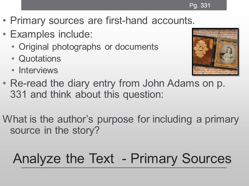 Analyze the Text - Primary Sources