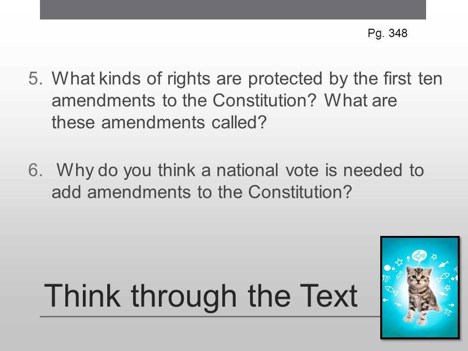 Pg. 348 What kinds of rights are protected by the first ten amendments to the Constitution What are these amendments called
