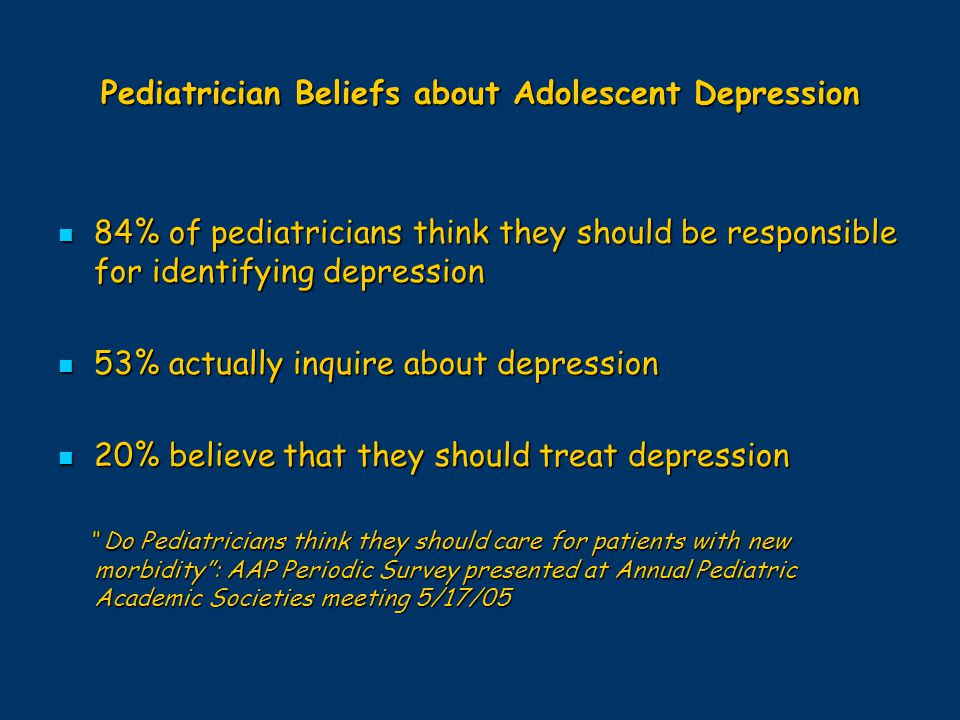Pediatrician Beliefs about Adolescent Depression