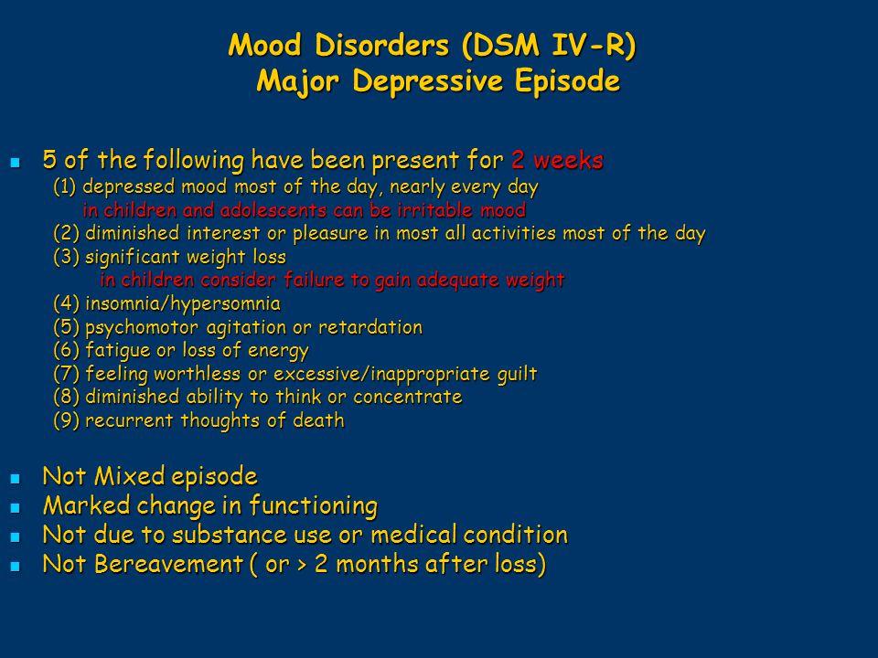 Mood Disorders (DSM IV-R) Major Depressive Episode