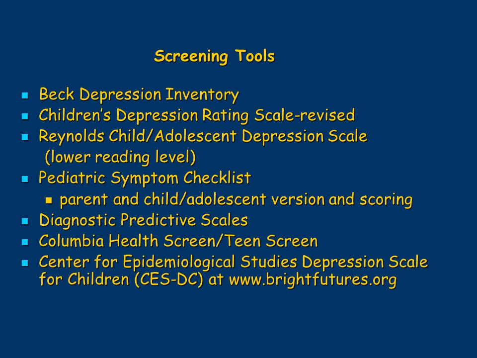 Beck Depression Inventory Children's Depression Rating Scale-revised