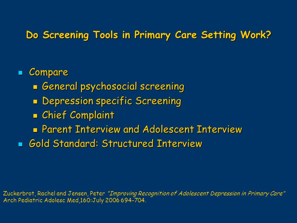 Do Screening Tools in Primary Care Setting Work