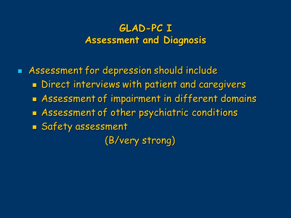 GLAD-PC I Assessment and Diagnosis