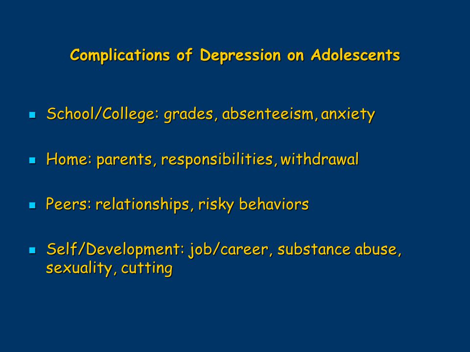 Complications of Depression on Adolescents