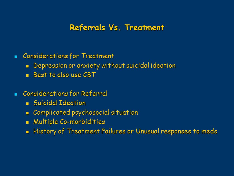Referrals Vs. Treatment