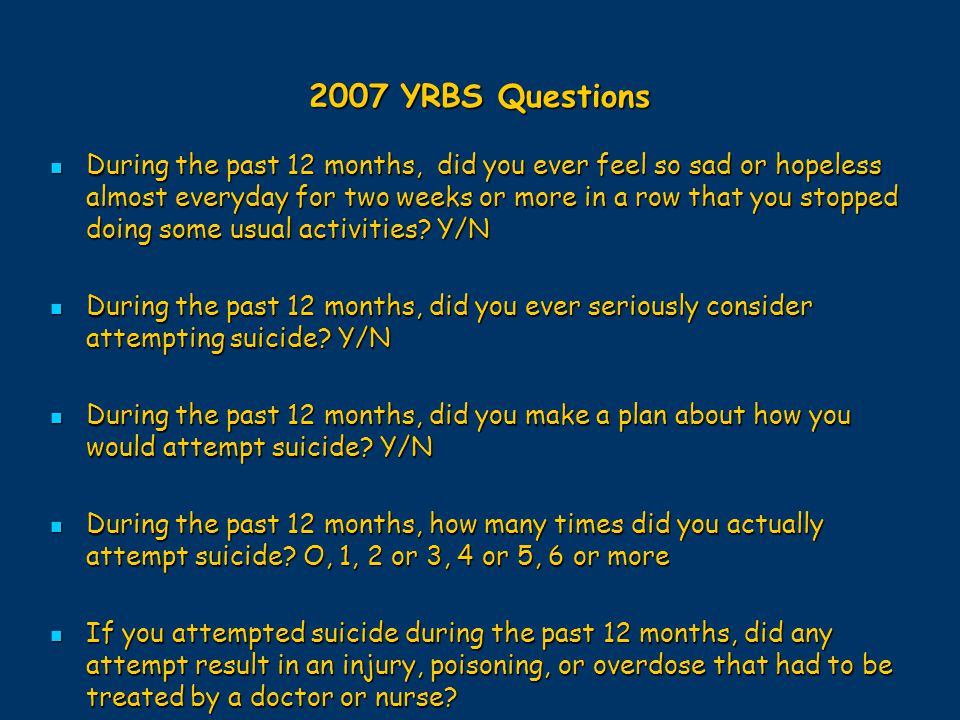 2007 YRBS Questions