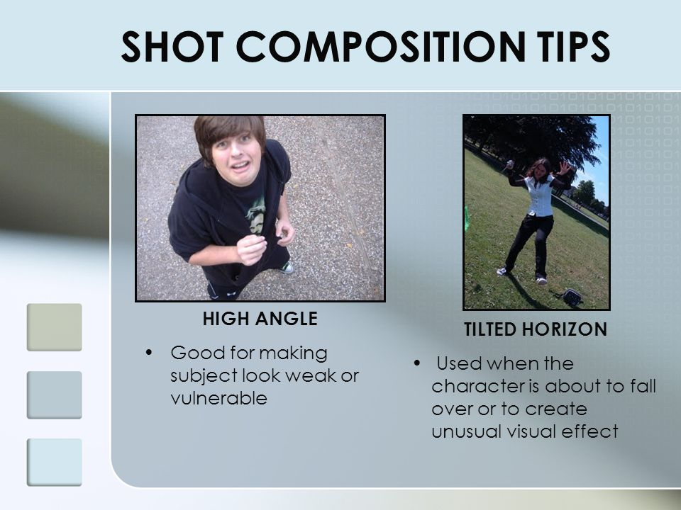 SHOT COMPOSITION TIPS HIGH ANGLE