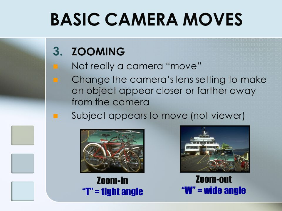 BASIC CAMERA MOVES ZOOMING Not really a camera move