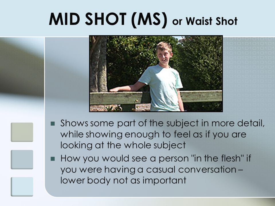 MID SHOT (MS) or Waist Shot