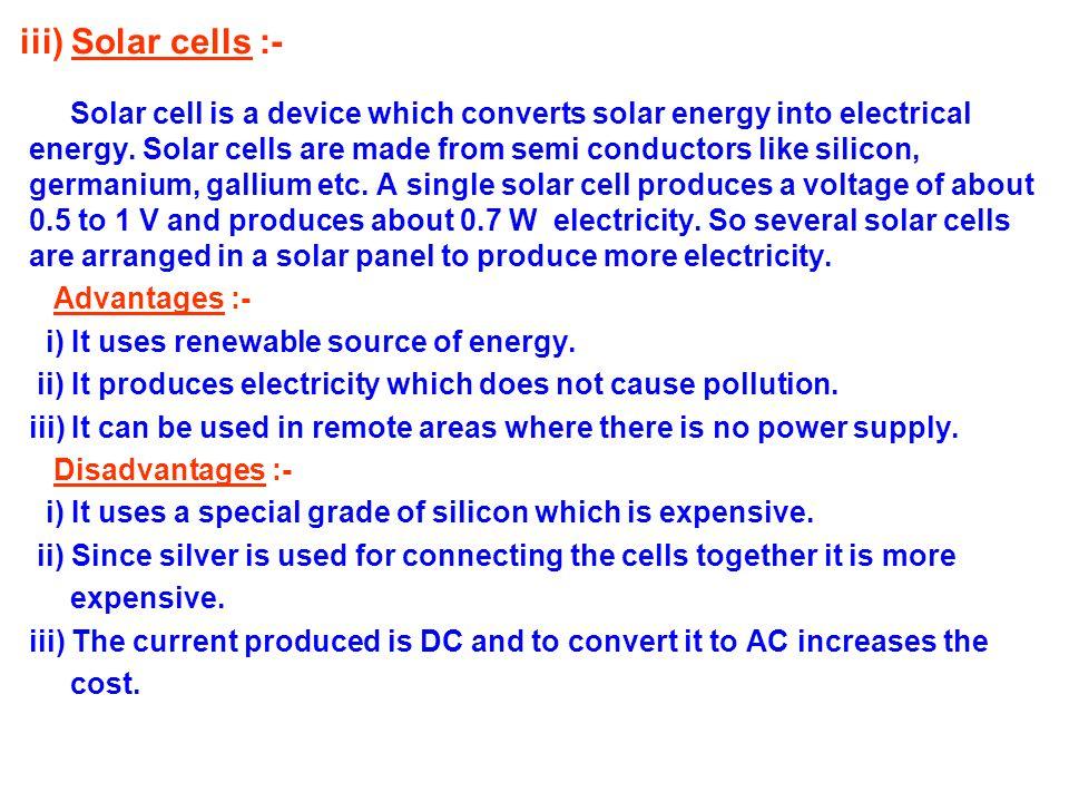 iii) Solar cells :-