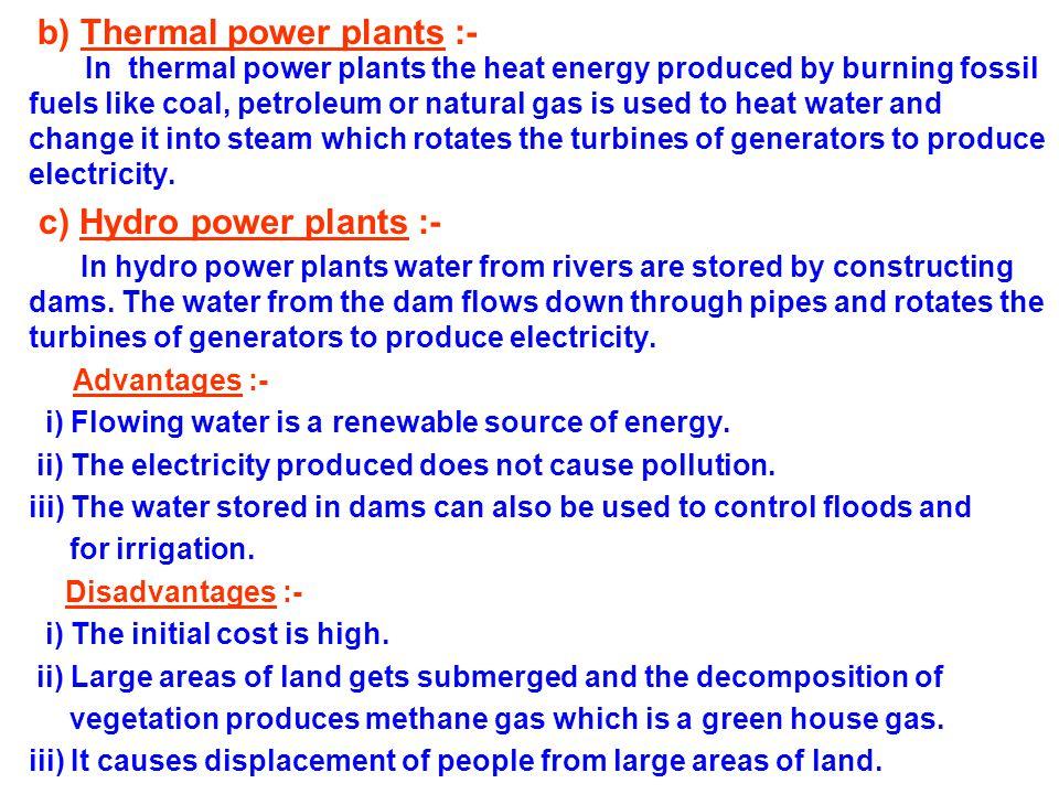 b) Thermal power plants :-