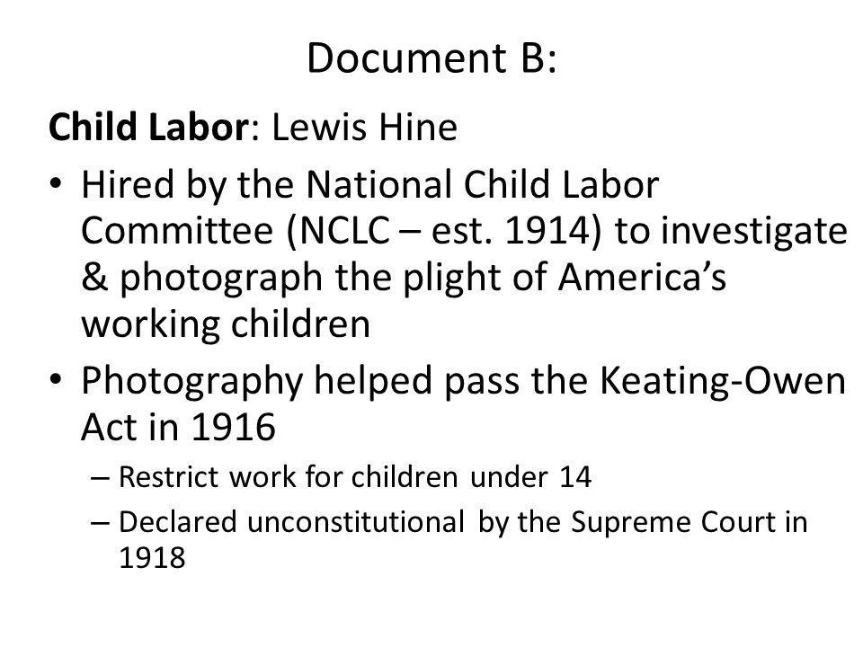 Document B: Child Labor: Lewis Hine