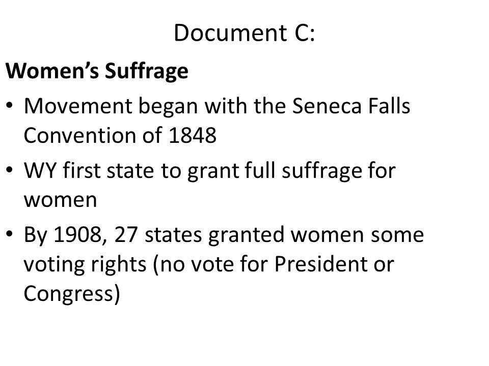Document C: Women's Suffrage