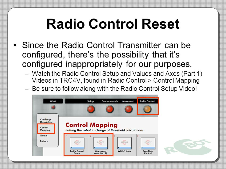 Radio Control Reset