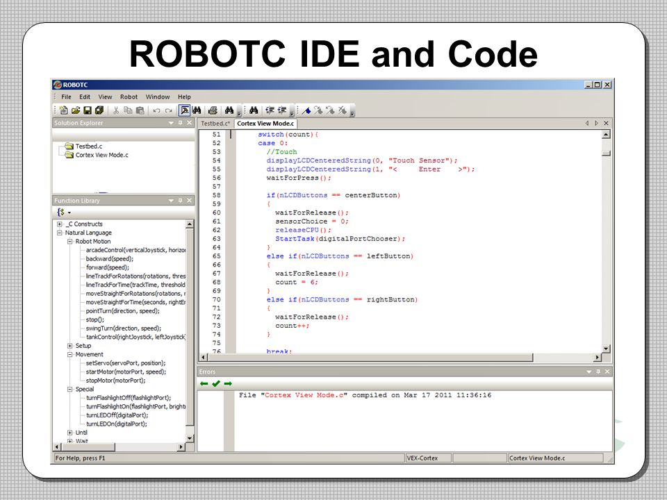 ROBOTC IDE and Code