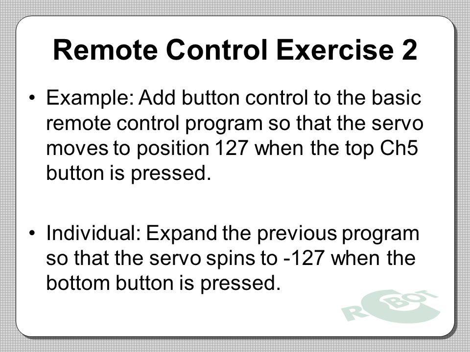 Remote Control Exercise 2
