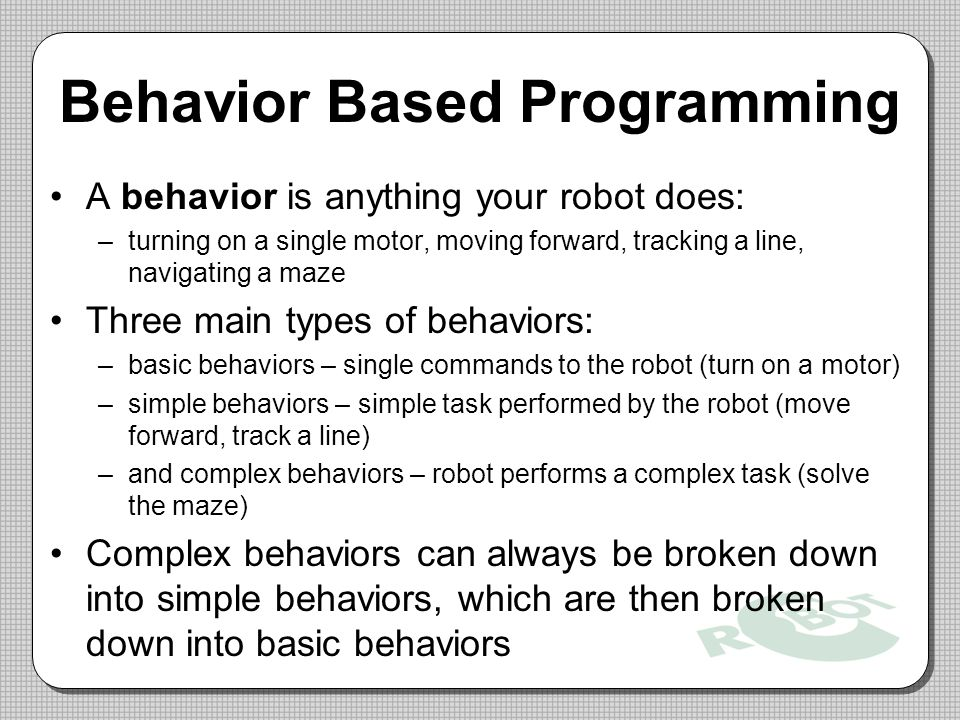 Behavior Based Programming