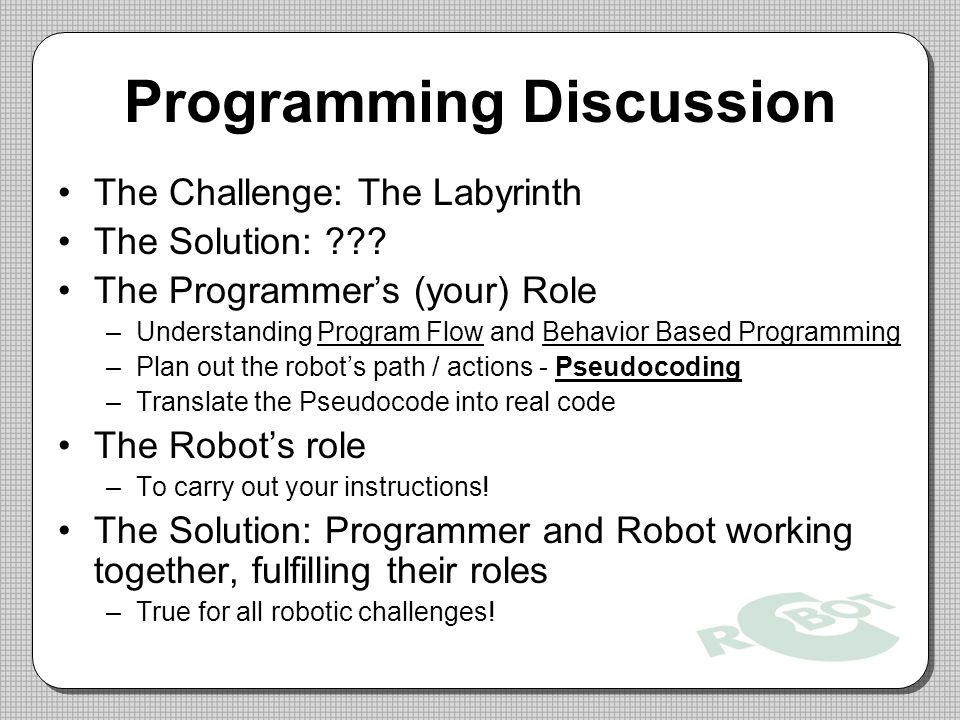 Programming Discussion