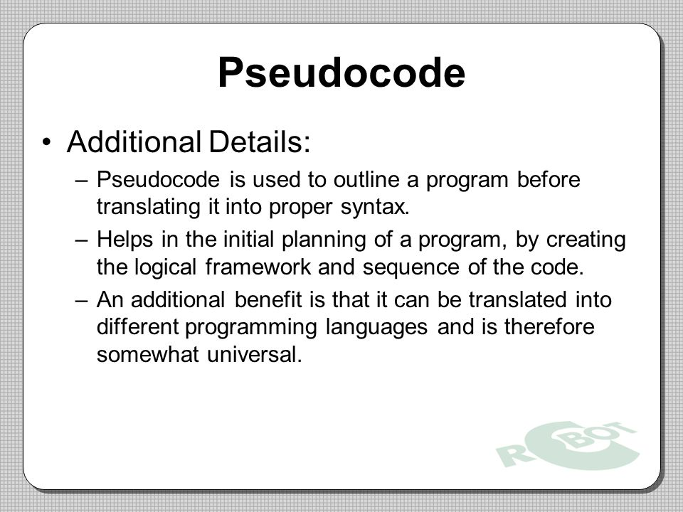 Pseudocode Additional Details: