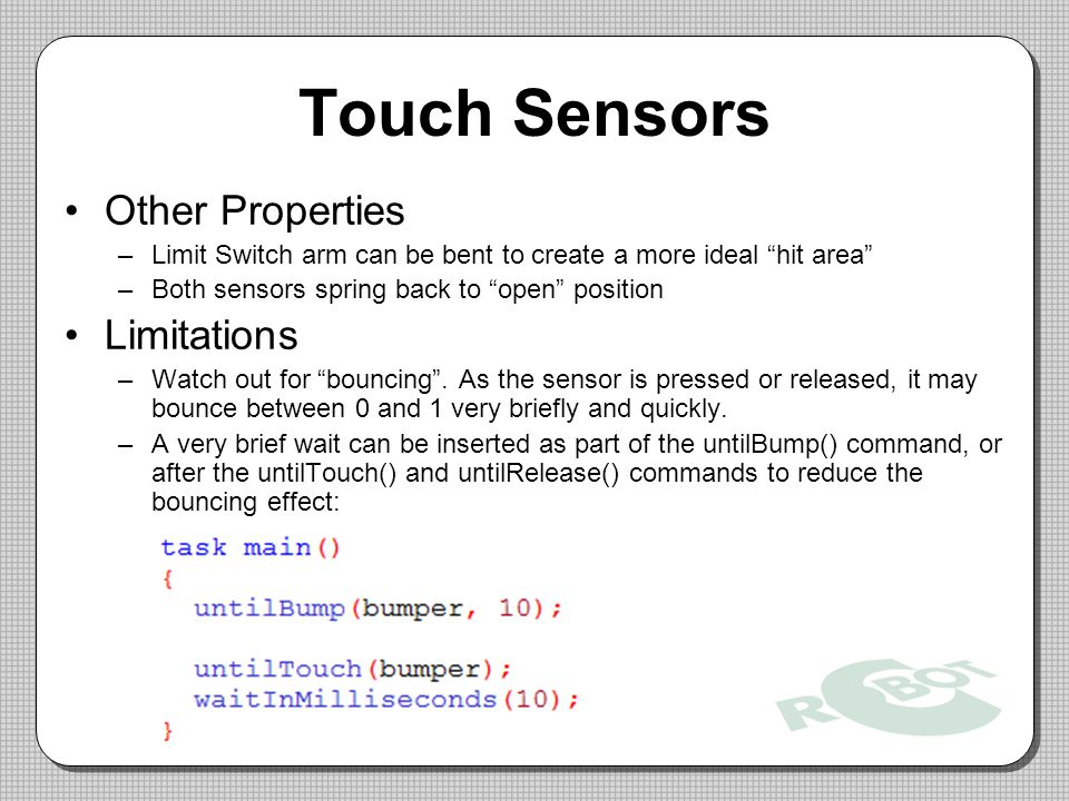 Touch Sensors Other Properties Limitations