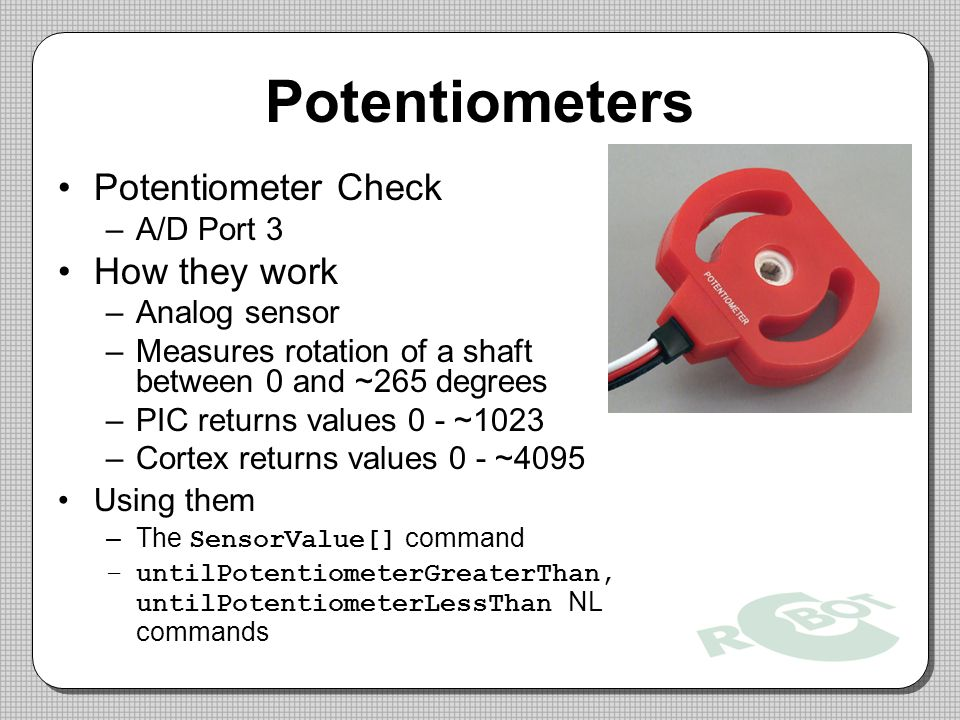 Potentiometers Potentiometer Check How they work A/D Port 3