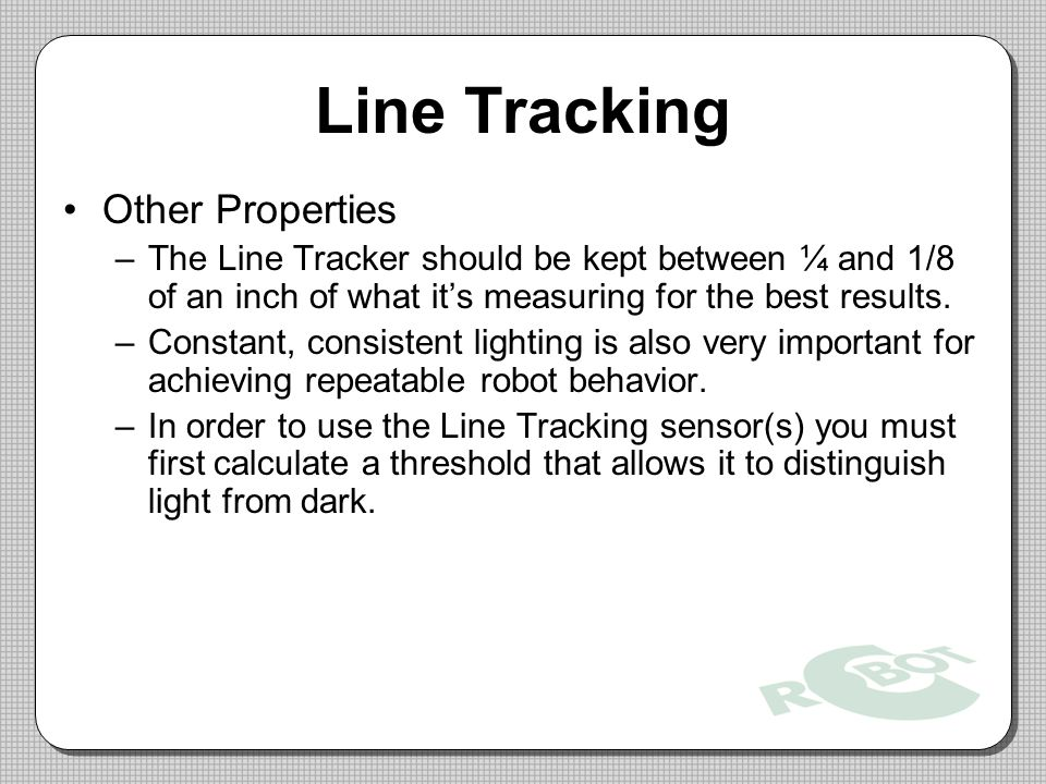 Line Tracking Other Properties