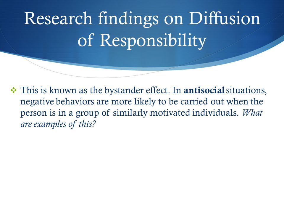 Professionalism/Diffusion of Responsibility