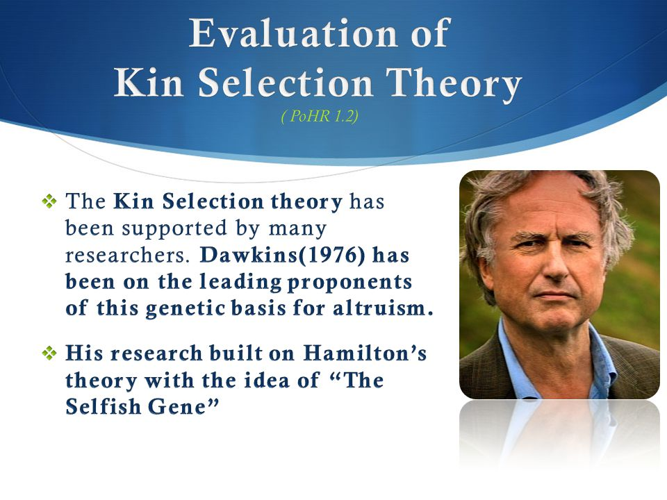 Evaluation of Kin Selection Theory ( PoHR 1.2)