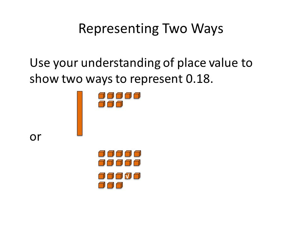 Representing Two Ways Use your understanding of place value to show two ways to represent 0.18. or.
