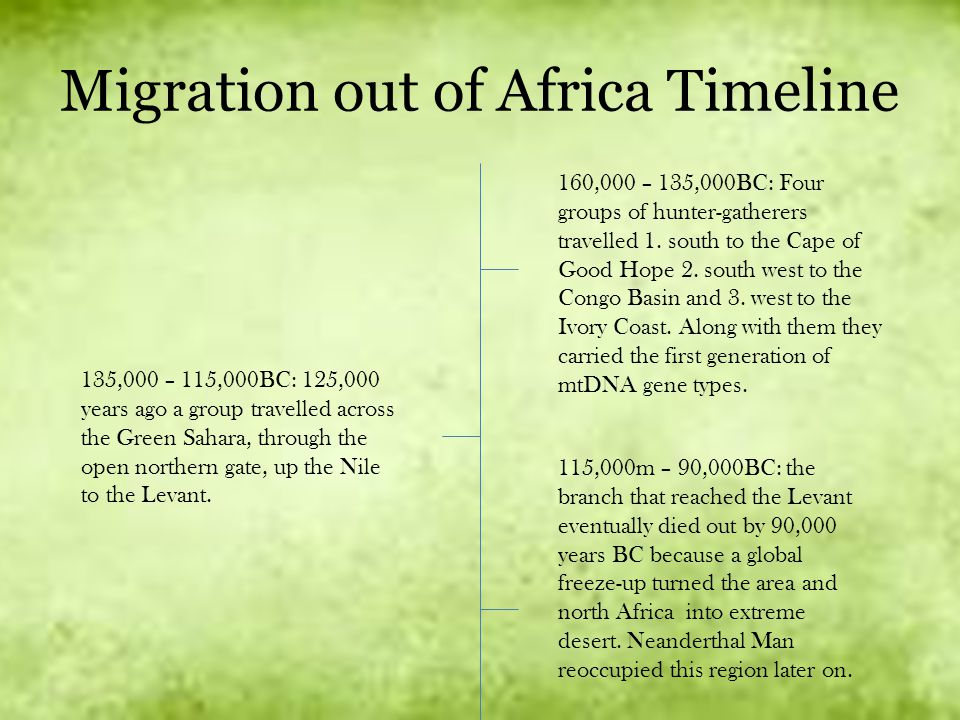Migration out of Africa Timeline