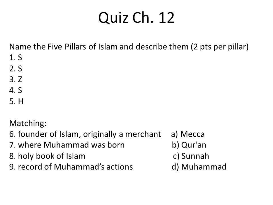 Quiz Ch. 12