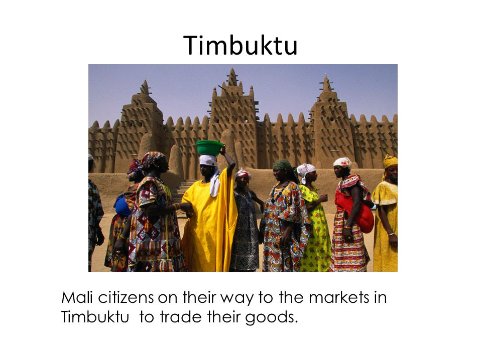 Timbuktu Mali citizens on their way to the markets in Timbuktu to trade their goods.