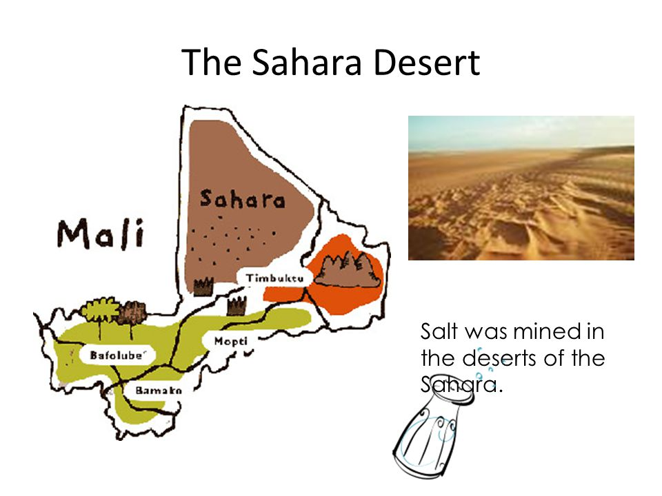 The Sahara Desert Salt was mined in the deserts of the Sahara.