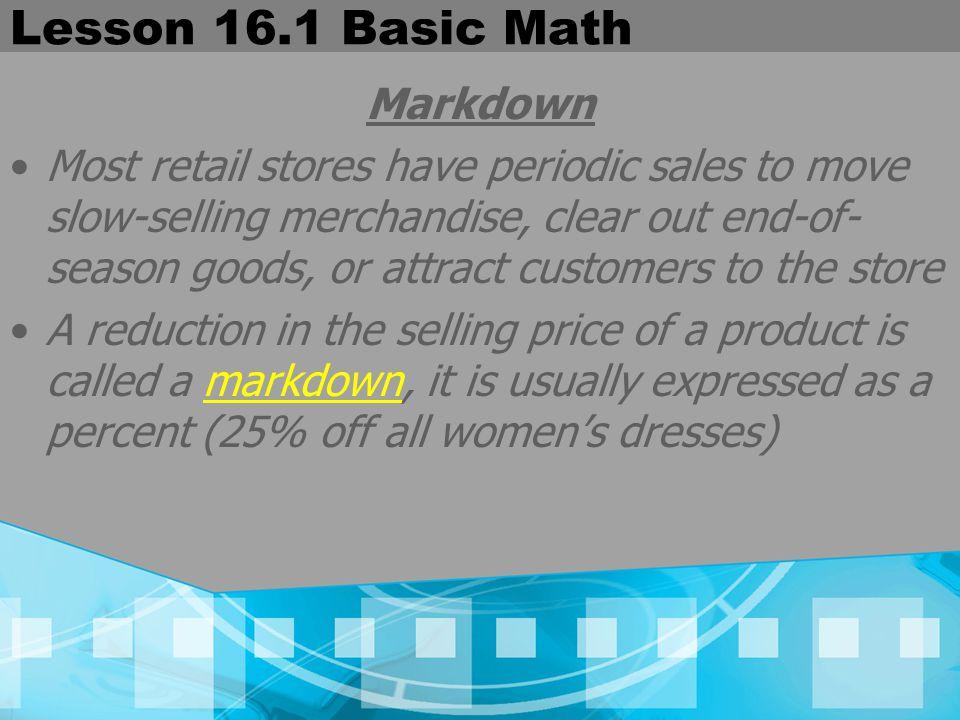 Lesson 16.1 Basic Math Markdown