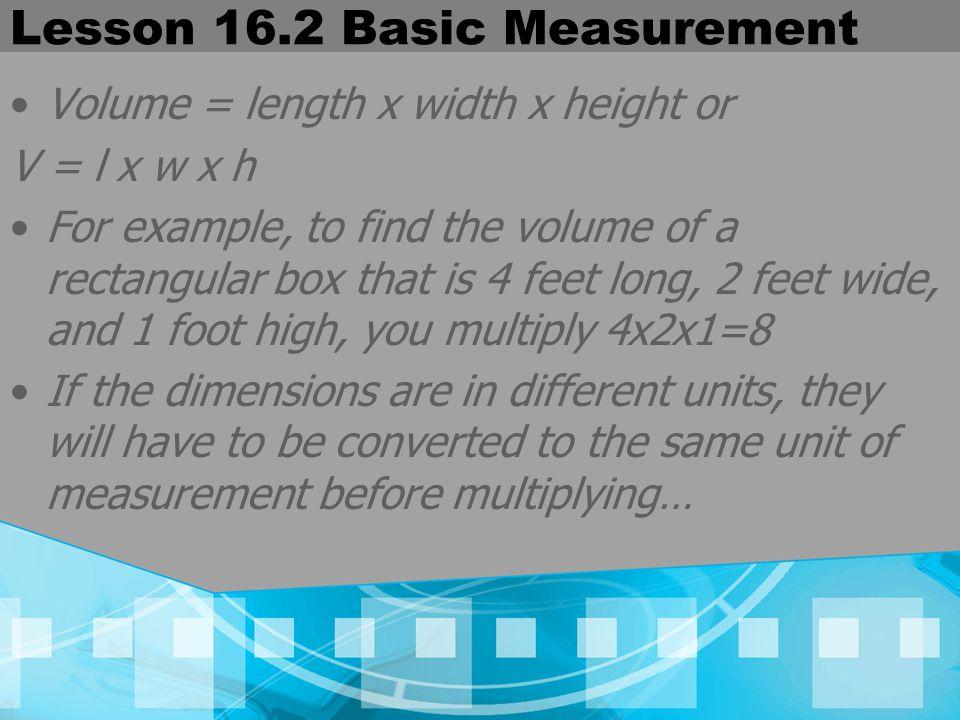 Lesson 16.2 Basic Measurement