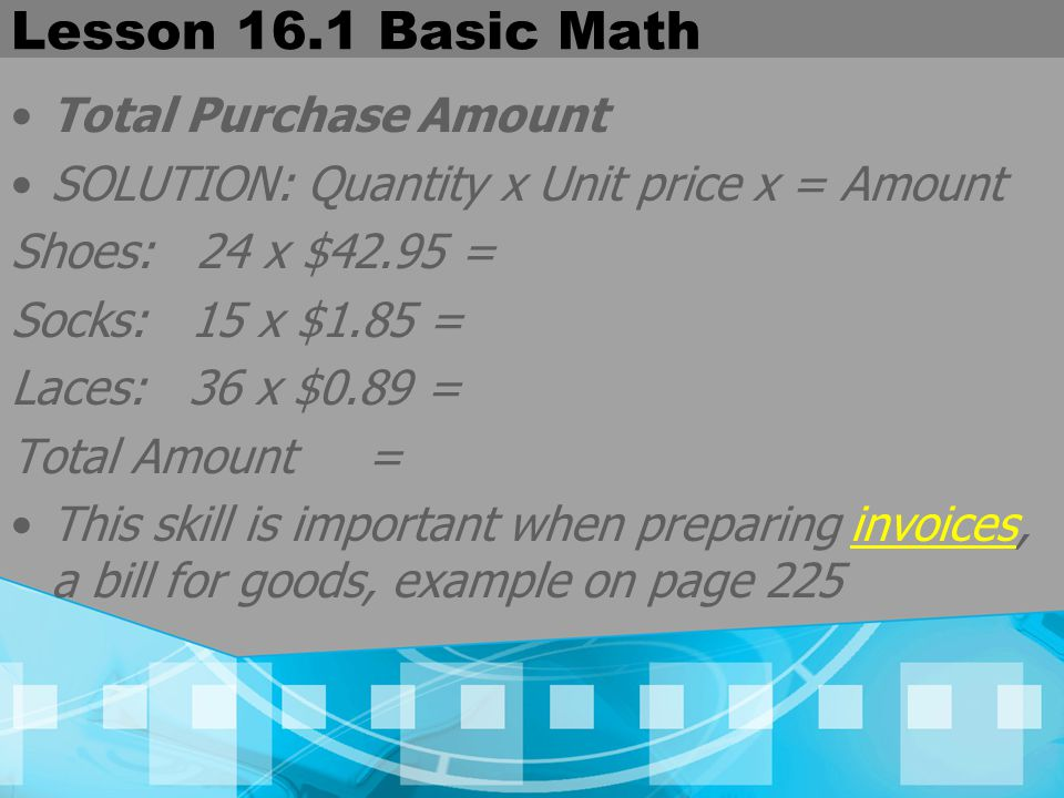 Lesson 16.1 Basic Math Total Purchase Amount