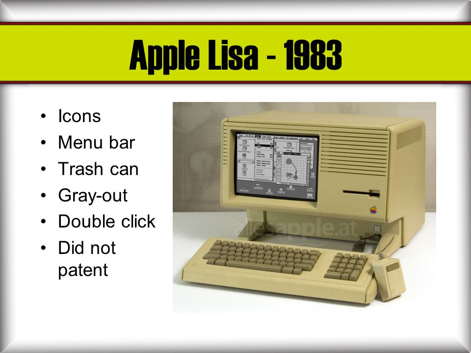 Apple Lisa - 1983 Icons Menu bar Trash can Gray-out Double click