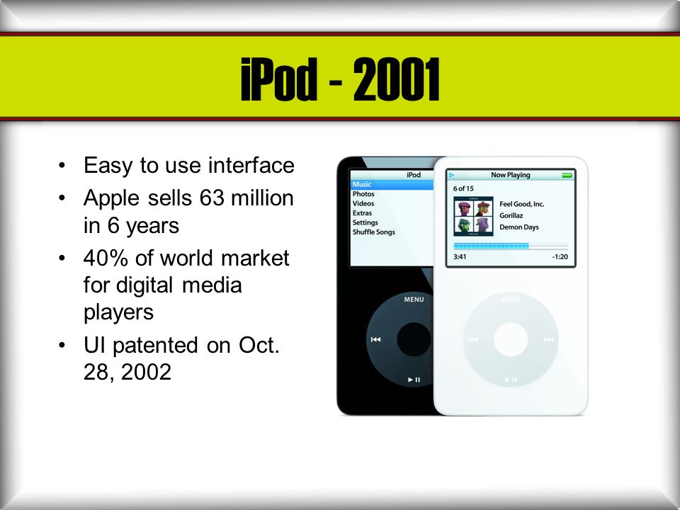 iPod - 2001 Easy to use interface Apple sells 63 million in 6 years