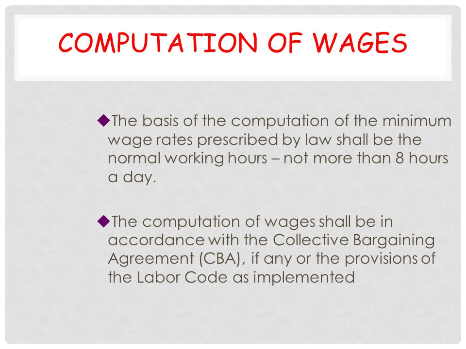 Computation of wages