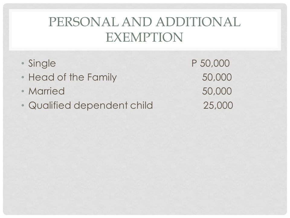 Personal and Additional Exemption