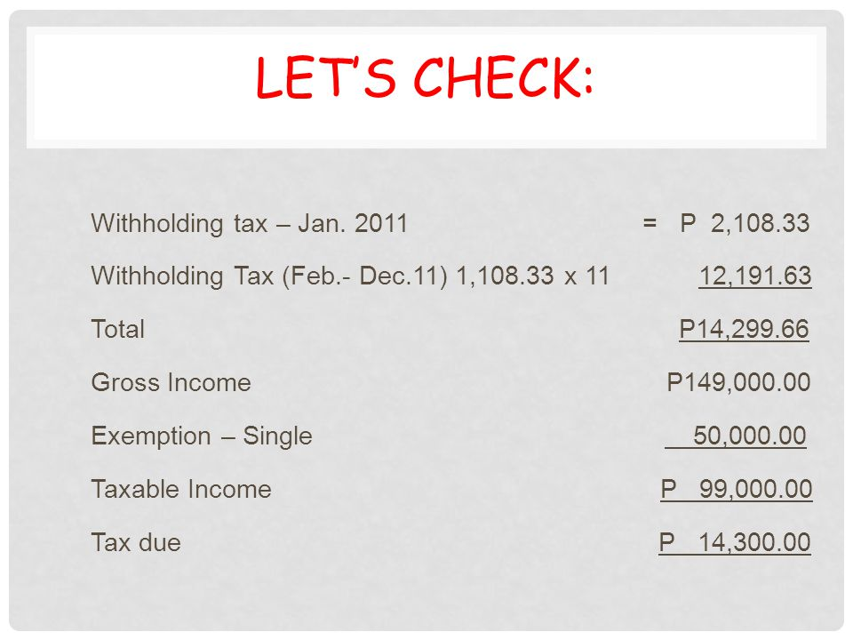 Let's Check: Withholding tax – Jan. 2011 = P 2,108.33