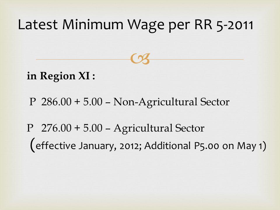 Latest Minimum Wage per RR 5-2011