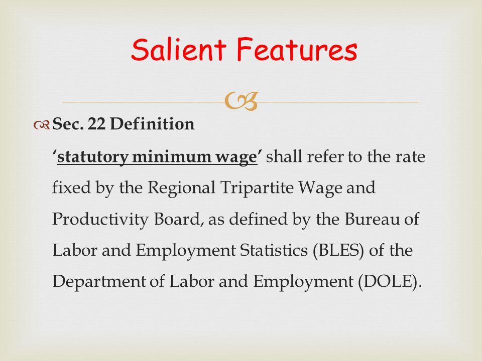Salient Features Sec. 22 Definition