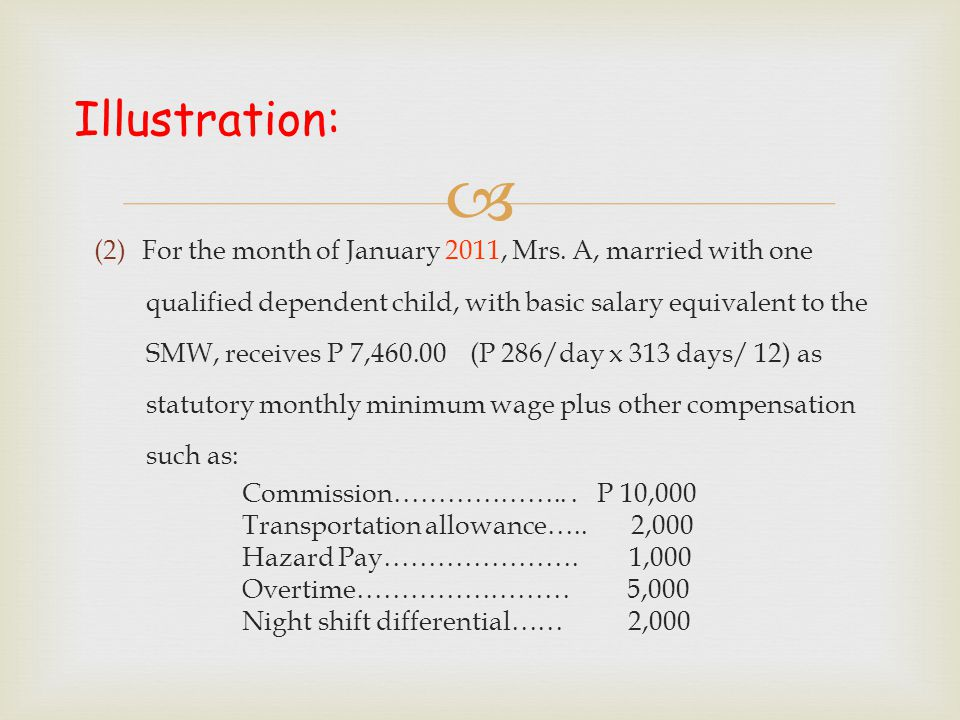 Illustration: For the month of January 2011, Mrs. A, married with one