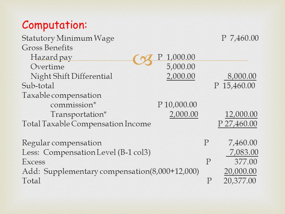 Computation: Statutory Minimum Wage P 7,460.00 Gross Benefits