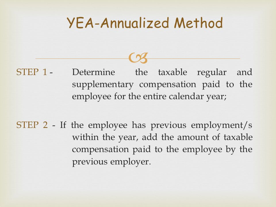 YEA-Annualized Method