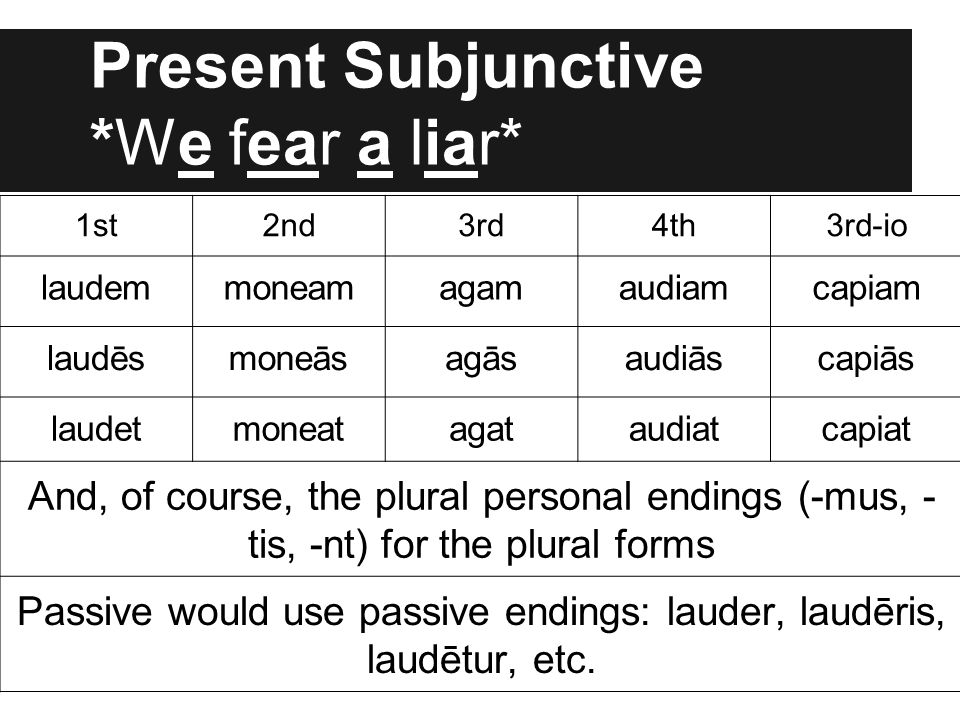 Present Subjunctive *We fear a liar*
