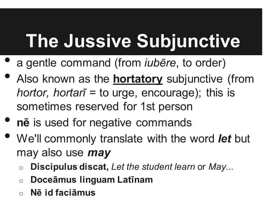 The Jussive Subjunctive