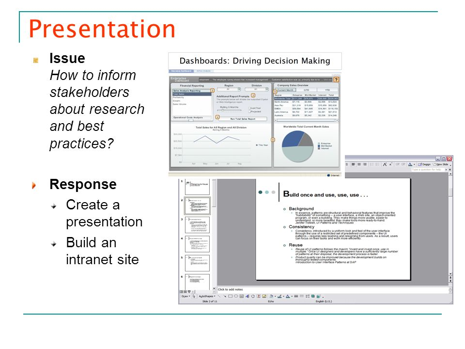 Presentation Issue How to inform stakeholders about research and best practices Response. Create a presentation.