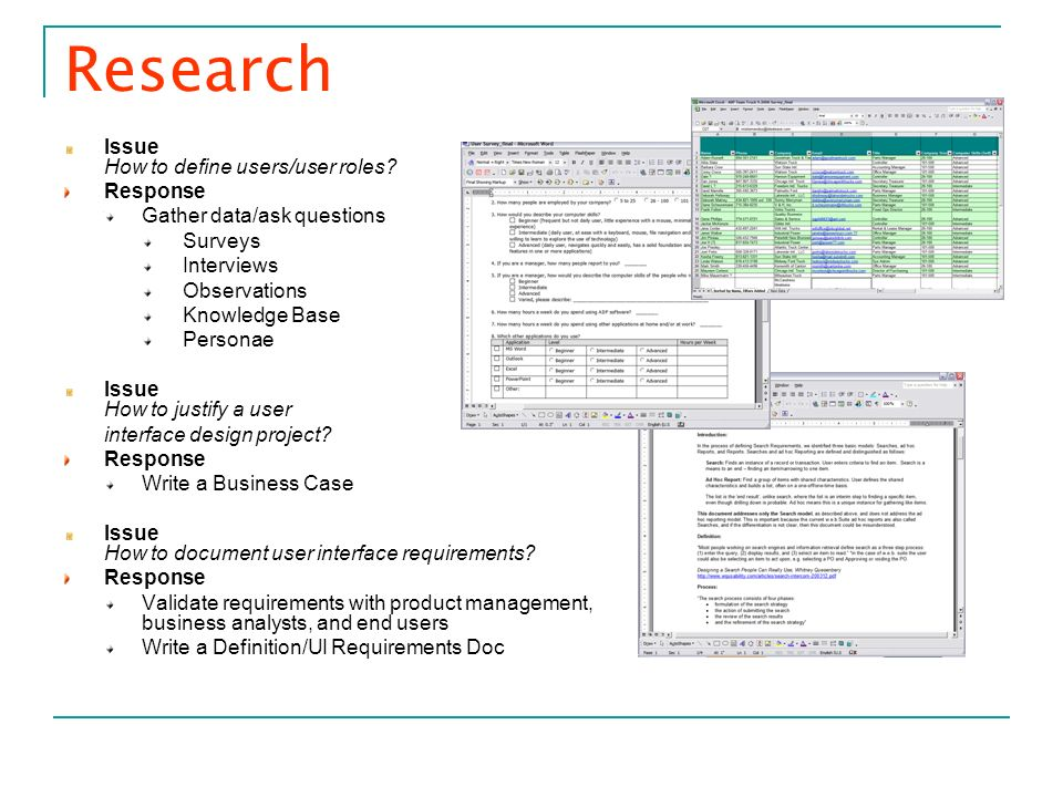 Research Issue How to define users/user roles Response
